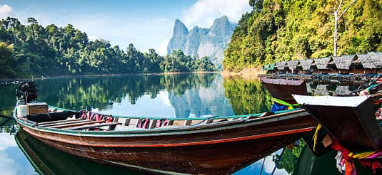 Long tail boats to get around on our Khao Sok Lake Tours