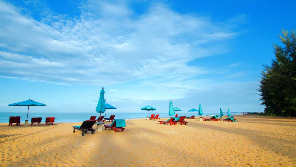 Loungers on Khuk Khak Beach