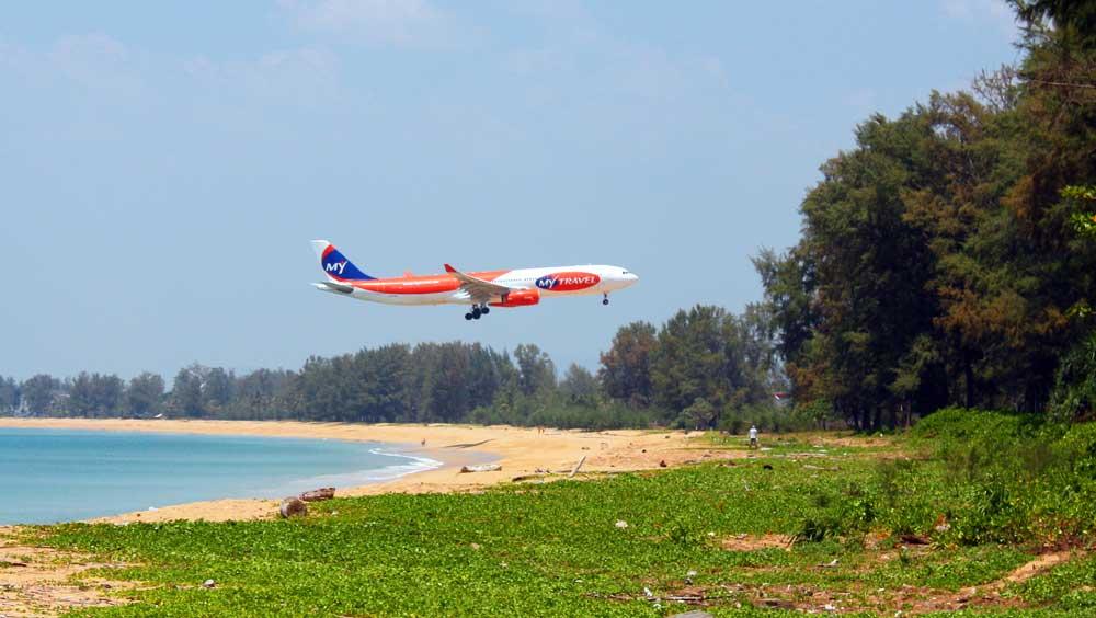 plane landing at Phuket Airport