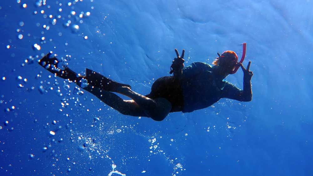 snorkeller posing