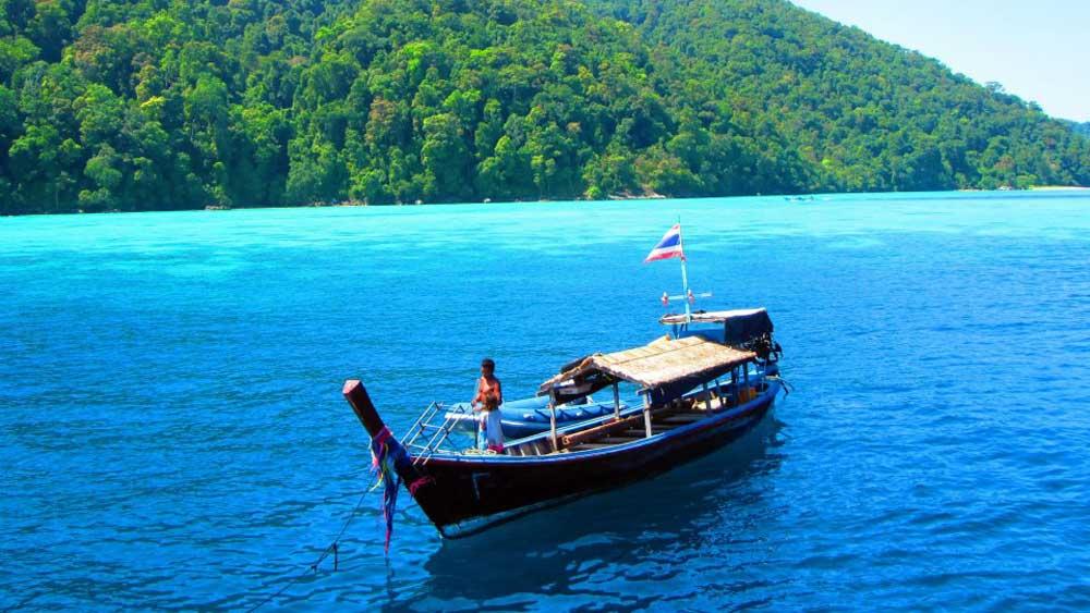Moken longtail boat in Surin Islands