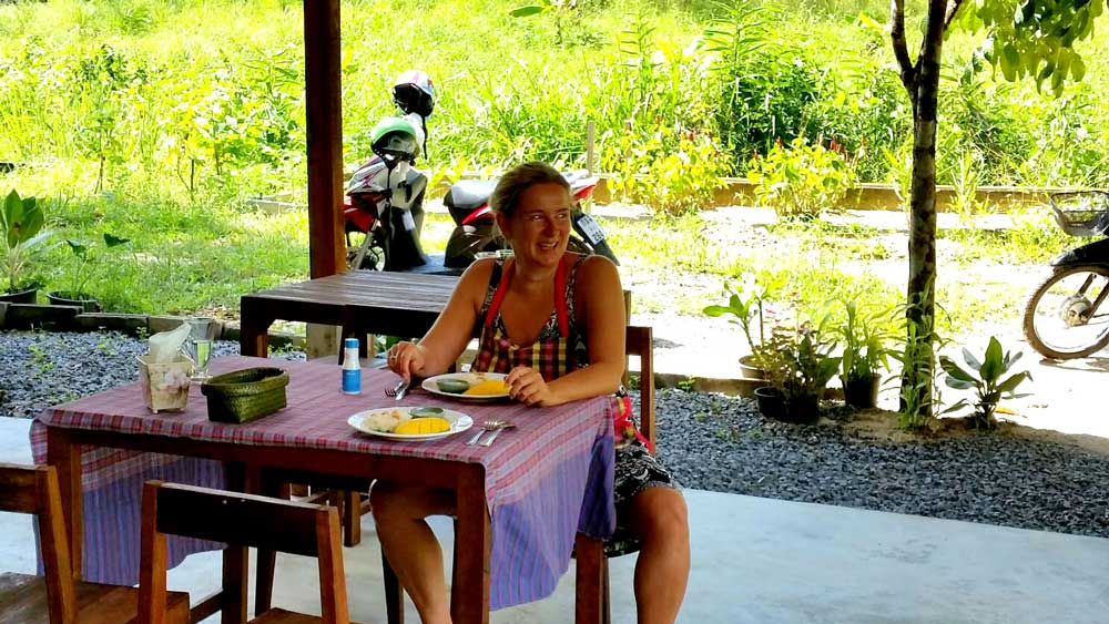enjoying mango with sticky rice