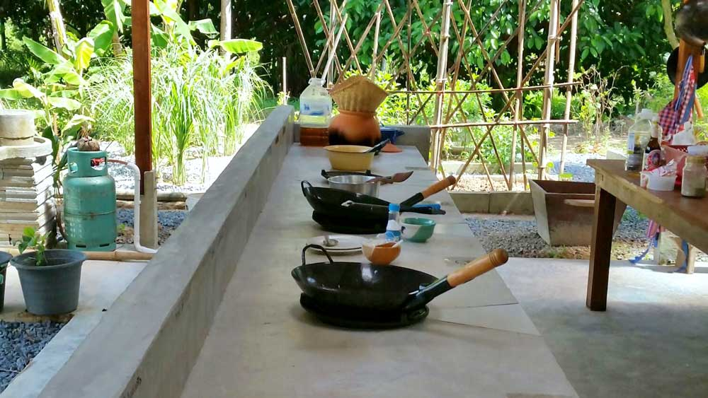 woks at the cooking area