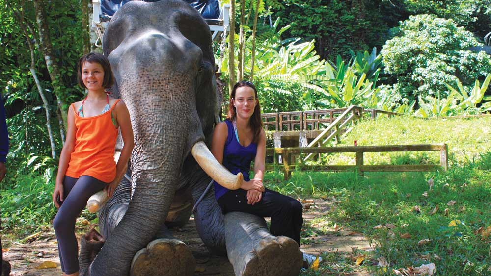 kids with an elephant in Khao Sok
