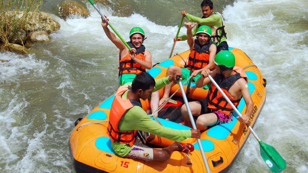 Happy white water rafters