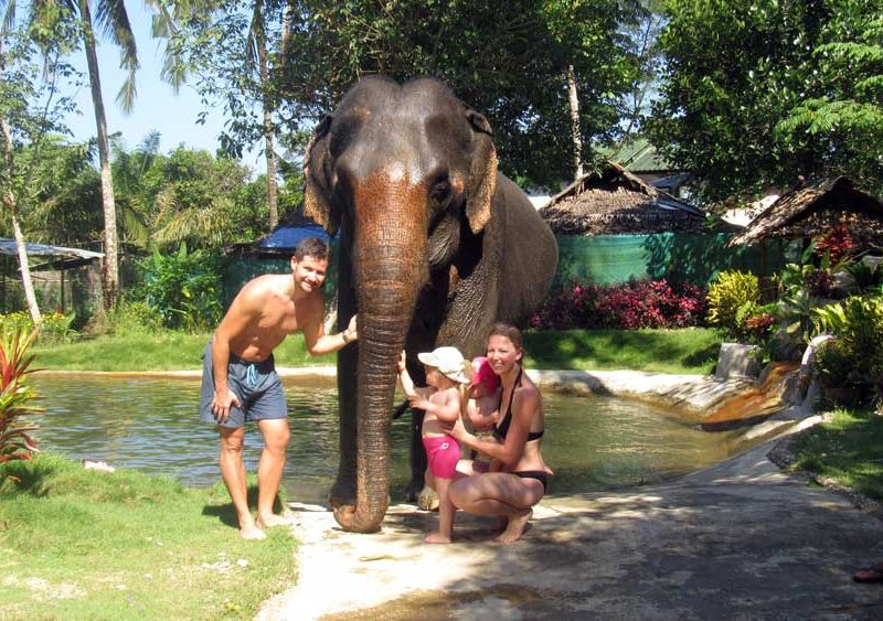 Family with elephant