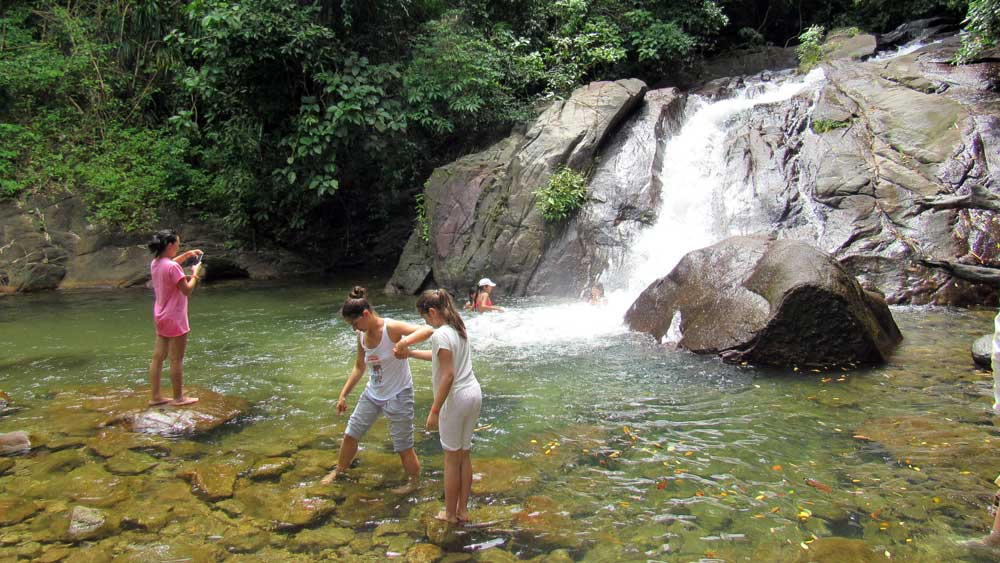 Visiting the waterfall