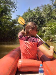 German trainee Johanna paddling by herself
