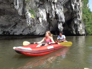 Canoeing along the beautiful cliffs and caves.