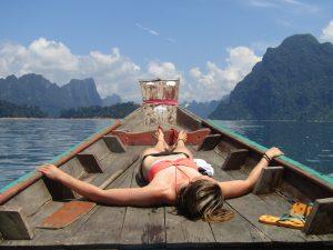 Taking a break in breathtaking scenery on the longtailboat.