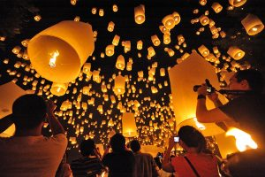 floating lantern during Loy Krathong in Chiang Mai